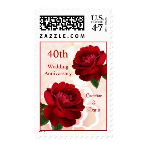 Ruby Wedding Anniversary Gift Experiences : Red roses 40th Ruby Wedding Anniversary Postage Zazzle