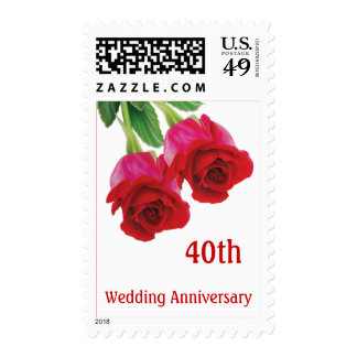 Red roses 40th Ruby Wedding Anniversary  stamp Pos