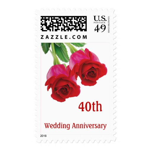 40th Wedding Anniversary Gift Ideas For Friends : Red roses 40th Ruby Wedding Anniversary stamp Pos Zazzle