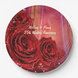 Red Roses Abstract Occasion Custom Paper Plates