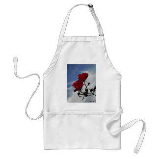 Red Roses Against a Bright Blue Sky Adult Apron