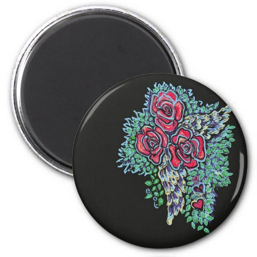 Red Roses and Angel Wings 2 Inch Round Magnet