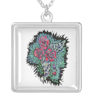 Red Roses and Angel Wings Square Pendant Necklace