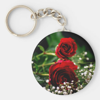 Red Roses and Baby's Breath Basic Round Button Keychain