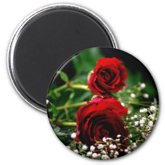 Red Roses and Baby's Breath Magnets