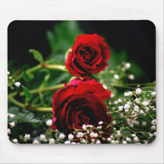 Red Roses and Baby's Breath Mouse Pad