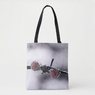 red roses and barbed wire tote bag