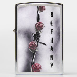 red roses and barbed wire zippo lighter