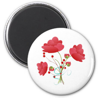 Red Roses and Berries Magnet
