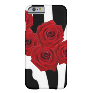 RED ROSES AND BLACK AND WHITE ZEBRA BARELY THERE iPhone 6 CASE
