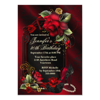 "Red Roses and Black Lace Shoe Adult Birthday 5"" X 7"" Invitation Card"