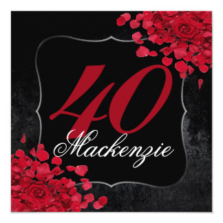 Red Roses 40th Birthday Party Gifts on Zazzle