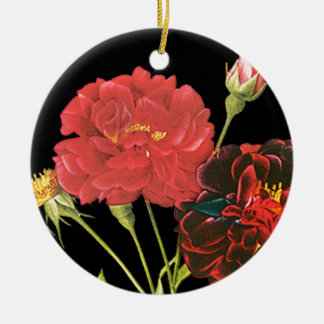 Red Roses and Bud Ceramic Ornament