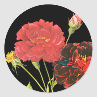 Red Roses and Bud Classic Round Sticker