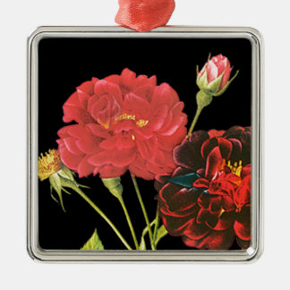 Red Roses and Bud Metal Ornament