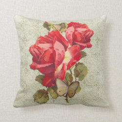 Red Roses and Butterflies Throw Pillow