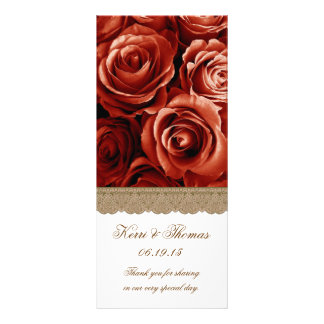 RED ROSES and GOLD LACE Wedding Program Custom Rack Card
