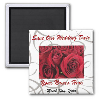 Red Roses and Gray Swirls Save the Date Magnet