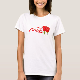 Red Roses and Heart Design Gift T-Shirt for Nurse