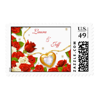 Red Roses and Heart Locket Wedding Postage