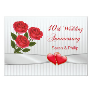 Red roses and hearts 40th Wedding Anniversary Invitation