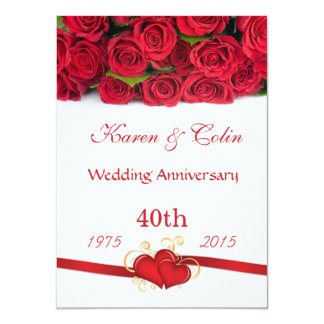 "Red roses and hearts 40th Wedding Anniversary 4.5"" X 6.25"" Invitation Card"