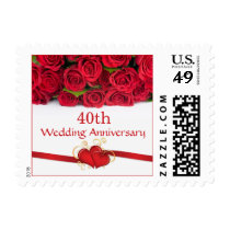 Red roses and hearts 40th Wedding Anniversary Postage