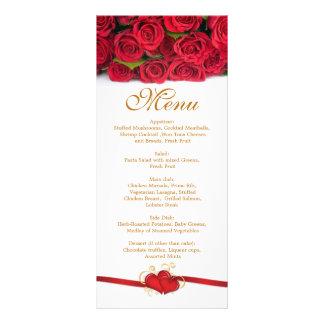Red roses and hearts Menu  Rack Card