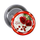 RED ROSES AND HEARTS PIN