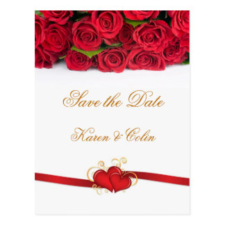 Red roses and hearts Save the Date Postcard