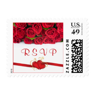 Red roses and hearts Wedding RSVP Postage