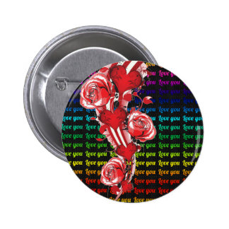 Red roses and hearts with colorful words love you button