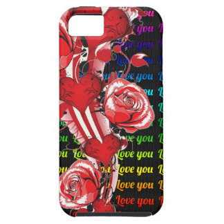 Red roses and hearts with colorful words love you iPhone SE/5/5s case