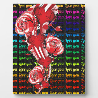 Red roses and hearts with colorful words love you plaque