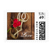 Red Roses and Horse Bit Country Wedding Love Postage