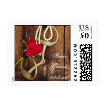 Red Roses and Horse Bit Country Wedding Postage