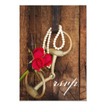 Red Roses and Horse Bit Country Wedding RSVP Card