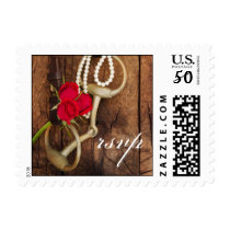 Red Roses and Horse Bit Country Wedding RSVP Postage