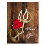 Red Roses and Horse Bit Country Wedding Thank You Postcard