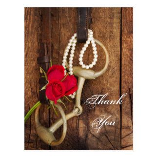 Red Roses and Horse Bit Country Wedding Thank You Postcards