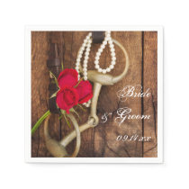 Red Roses and Horse Bit Country Western Wedding Paper Napkin