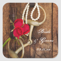 Red Roses and Horse Bit Country Western Wedding Square Sticker