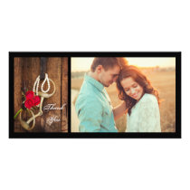 Red Roses and Horse Bit Western Wedding Thank You Card