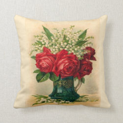 Red Roses and Lily of the Valley Throw Pillow