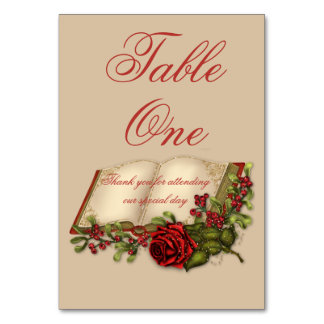 Red Roses and Open Bible Table Number Cards