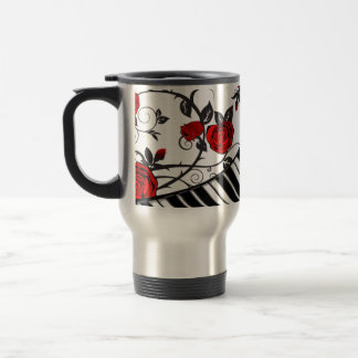 Red roses and piano keys, eye catching! 15 oz stainless steel travel mug