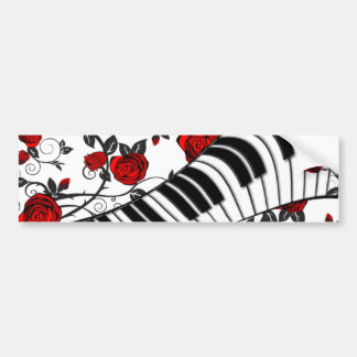 Red roses and piano keys, eye catching! car bumper sticker