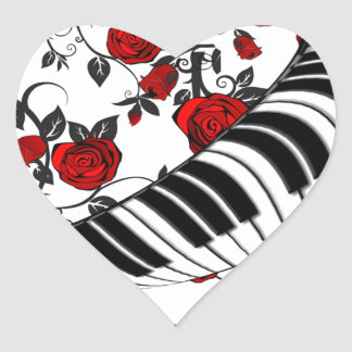 Red roses and piano keys, eye catching! heart sticker