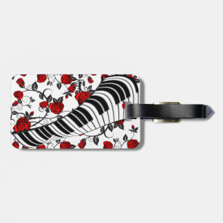 Red roses and piano keys, eye catching! tag for luggage
