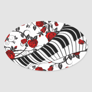 Red roses and piano keys, eye catching! oval sticker
